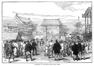 JAPAN: FIRST RAILWAY, 1872. Procession at the Saiwaibashi Gate in Tokyo, Japan