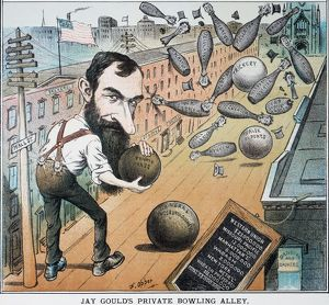 JAY GOULD CARTOON, 1882. An 1882 cartoon by Frederick Burr Opper of Wall Street as Jay Gould's private bowling alley.