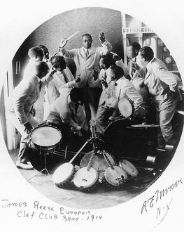 JAZZ BAND, 1914. James Reese Europe and his Clef Club Band of New York City: photographed by R