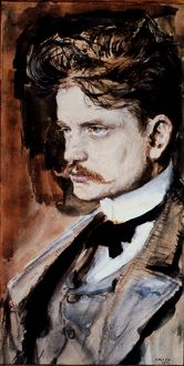 JEAN SIBELIUS (1865-1957). Finnish composer. Oil, 1894, by Akseli Gallen-Kallela.