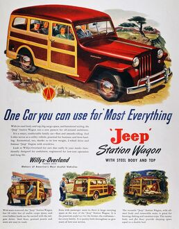 JEEP STATION WAGON, 1947. Willys-Overland 'Jeep' Station Wagon advertisement