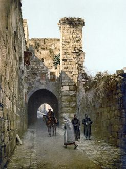 JERUSALEM: VIA DOLOROSA. View of the Via Dolorosa and the remains of the Antonia