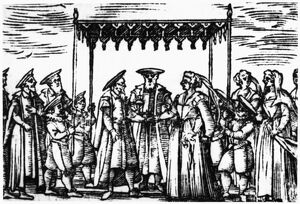 JEWISH WEDDING, 1601. A Jewish wedding ceremony. Woodcut, Venice, 1601