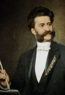 JOHANN STRAUSS (1825-1899). Johann Strauss the Younger. Austrian composer. Oil on canvas