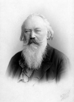 JOHANNES BRAHMS (1833-1897). German composer and pianist. Photograph, late 19th century.