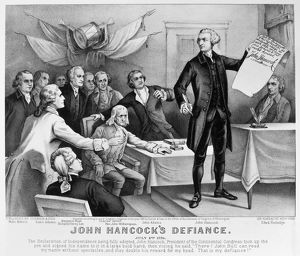 'John Hancock's Defiance.' Lithograph, 1876, by Currier & Ives.