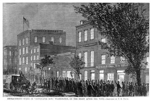 presidents/johnson impeachment 1868 crowd outside newspaper