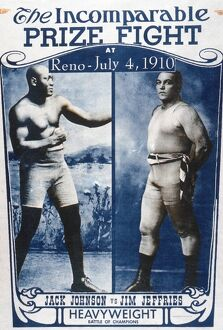 JOHNSON VS. JEFFRIES, 1910. American boxing poster promoting the championship fight