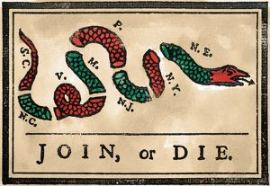 JOIN OR DIE CARTOON, 1754. First American political cartoon, originally published by Benjamin Franklin in his Pennsylvania Gazette, 1754.