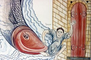 JONAH AND THE WHALE. Manuscript illumination from a 'Hortus Deliciarum,' Alsace