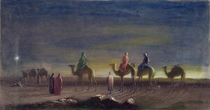 JOURNEY OF THE MAGI. 'The Star in the East.' Steel engraving, 19th century