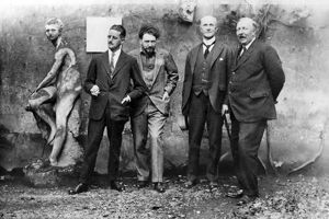 JOYCE, POUND, QUINN & FORD. From left to right: Writers James Joyce and Ezra Pound; lawyer