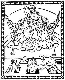 LAST JUDGEMENT. Woodcut from 'Epistole e Evangelii,' published at Florence in 1495
