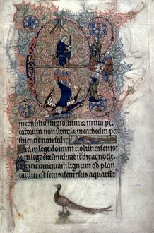 JUDGMENT OF SOLOMON In an initial E: illumination from an English Latin Psalter, c1290