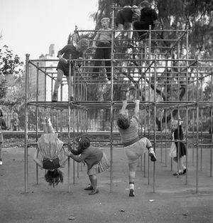 whats new/jungle gym 1942 children climbing jungle gym
