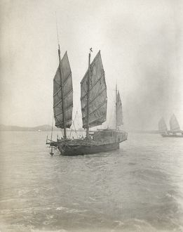 JUNK SHIP, c1900. A junk ship, possibly in China. Photograph, c1900