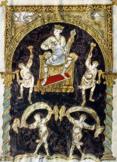 KING DAVID. King David and the musicians. Illumination from the Golden Psalter of St