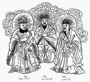 Also known as the Three Pure Ones. Tao-Chun, Yu-Huang and Lao Tse. Line drawing.