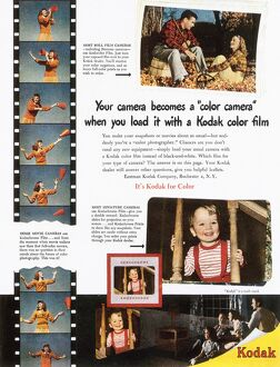 KODAK ADVERTISEMENT, 1948. Advertisement for Kodak color film from an American magazine