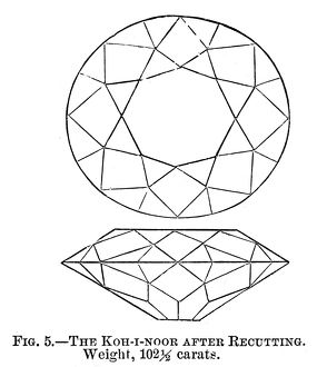 KOH-I-NOOR DIAMOND. The Koh-I-Noor diamond after it was recut in 1851. Engraving, 1875