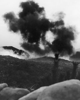 KOREAN WAR: BUNKER HILL. Bombs dropped by American Corsair fighter bombers explode