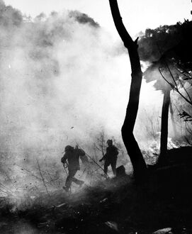 KOREAN WAR: COMBAT, 1951. Marines from the First U.S. Division on a battlefield in Korea