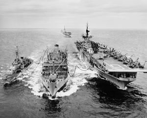KOREAN WAR: SHIP REFUELING. The destroyer USS Shelton and the aircraft carrier USS