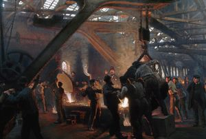 KROYER: STEELWORKS, 1885. Pouring steel ingots at the Burmeister & Wain Works at