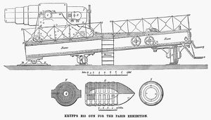 KRUPP CANNON, 1867. Diagram of a Krupp cannon exhibited at the Paris World Exposition