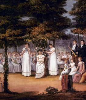 LADIES' SEMINARY, c1810. A Ceremony at a Young Ladies' Seminary: oil, c1810, by