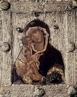OUR LADY OF DON. Moscow School, Russia. Late 14th century.