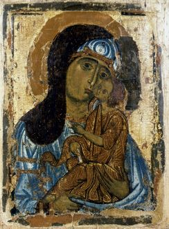 OUR LADY OF TENDERNESS. Icon. Novgorod School, Russia, mid-12th century.