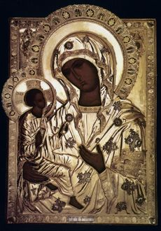 OUR LADY OF YEVSEMANISK. Russian icon, 16th century.