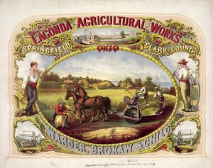 LAGONDA ADVERTISEMENT. Poster for Lagonda Agriculture Works in Ohio, featuring farmers