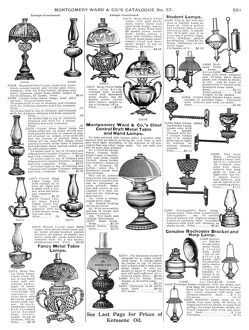 LAMPS, 1895. From the mail-order catalog of Montgomery Ward & Co