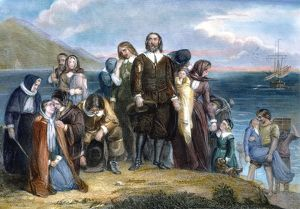 LANDING OF PILGRIMS, 1620. Colored engraving, 19th century