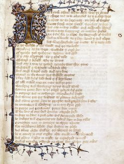 LANGLAND: PIERS PLOWMAN. A manuscript page from the Middle English poem 'The