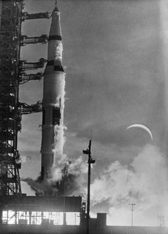 Launch of the Apollo 8 spacecraft from the Kennedy Space Center in Florida. Photograph