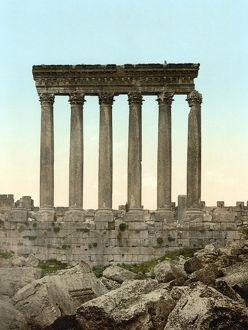 LEBANON: BAALBEK. Colonnade of the Temple of the Sun at the Roman city of Heliopolis