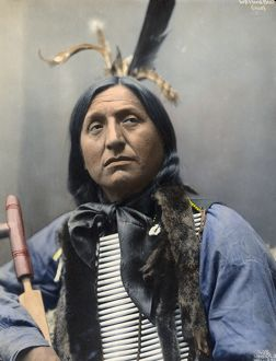 LEFT HAND BEAR, c1899. Oglala Sioux chief. Hand colored platinum print photograph