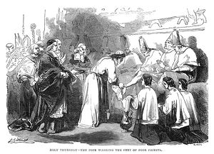 LENT: HOLY THURSDAY, 1844. The Pope washing the feet of poor priests on Holy Thursday