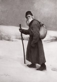 LEO TOLSTOY (1828-1910). Russian writer and philosopher. Painting by Jan Styka, c1910.