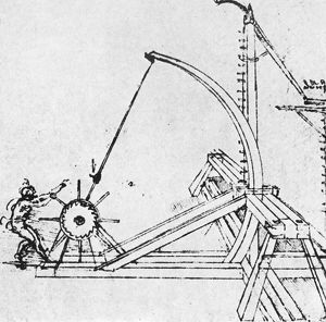 LEONARDO: CATAPULT, c1500. Plan for a catapult with ratchet. Drawing by Leonardo da Vinci