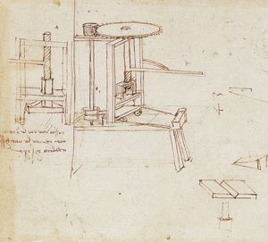 Leonardo da Vinci's diagram of a typographical press with automatic page-feeder
