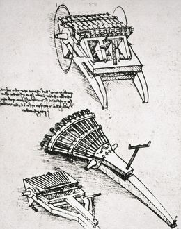 Leonardo da Vinci's drawing for military hardware, including machine gun.