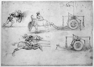 LEONARDO: WARFARE. Drawings by Leonardo da Vinci, c1500, depicting various types