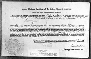 Letter of marque issued by President James Madison for the privateer ship 'Abaellino&#39