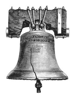 LIBERTY BELL, 19th CENTURY. The Liberty Bell at Independence Hall, Philadelphia, Pennsylvania