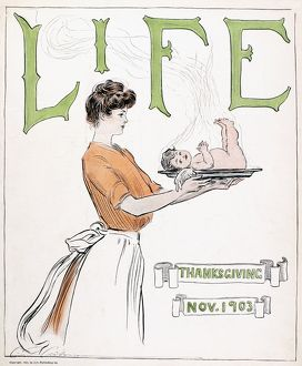 'Life' magazine cover, Thanksgiving, 1903. Drawing by Charles Dana Gibson.