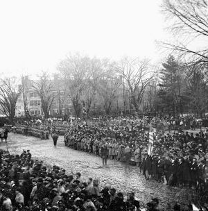 LINCOLN'S INAUGURATION. Crowds lining the streets in Washington, D